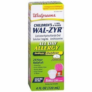 (Walgreens Wal-Zyr Sugarfree Dye Free Bubblegum Oral Solution, 4 fl oz)