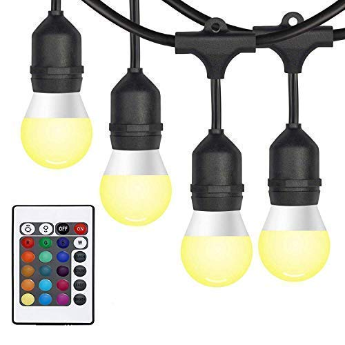 ALDOKE Outdoor String Lights Color Changing -28ft. Commercial Grade Weatherproof Strand - 12 Hanging Sockets / 3W Dimmable LED Bulbs - UL Listed Heavy-Duty Patio Pergola LED String Lights (3w Light Outdoor Break)