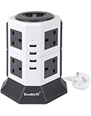 DoubleYI Socket 6 Way Outlet Extension Lead Surge Protector Power Strip with 6.5-Foot Power Cord and 4 USB Charging Ports for Smartphones, Tablet, Laptop and more, ETL Certified 1000 Joules-black (Black)