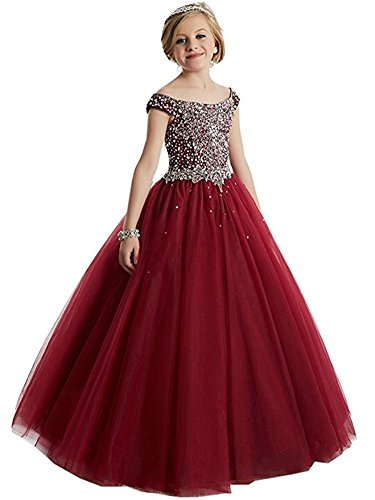 Girls Princess Tulle Beaded Straps Ball Gowns Flower Girl Pageant Dresses 8 US Burgundy