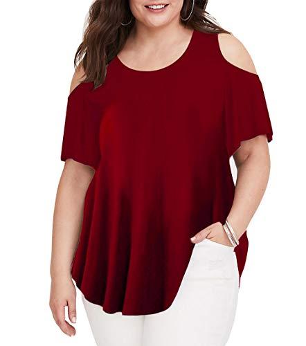 - Women Summer Cold Shoulder T Shirts Plus Size Summer Tops Casual Juniors Teens XL