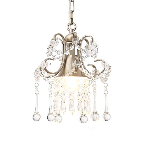 Garwarm Mini Style K9 Clear Crystal Chandeliers, Ceiling Lights,Crystal Pendant Light,Ceiling Light Fixtures for Living Room Bedroom Restaurant Porch Chandelier,1-Light,Champagne