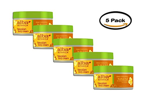 PACK OF 5 - Alba Botanica Hawaiian Body Cream Deep Moisturizing Kukui Nut, 6.5 - Kukui Cream Body Nut Hawaiian