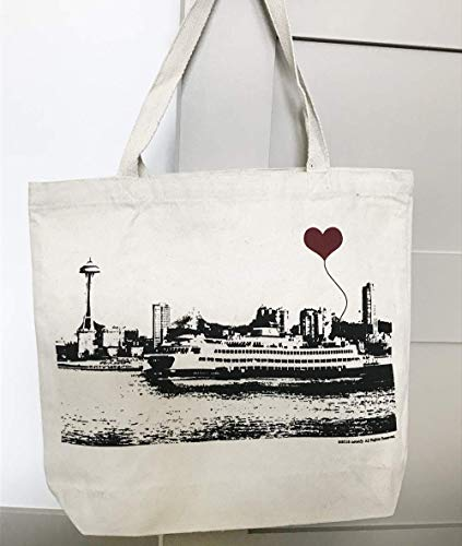 Seattle Ferry Boat Space Needle Canvas Tote Bag