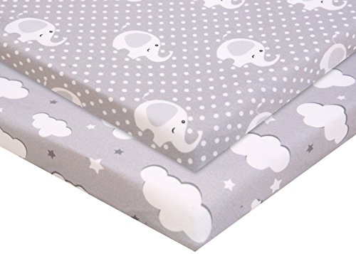 Elastic Fitted Safety Sheets - Pack n Play Fitted Pack n Play Playard Sheet Set-2 Pack Portable Mini Crib Sheets,Playard Mattress Cover,Super Soft Material,Elephants & Clouds