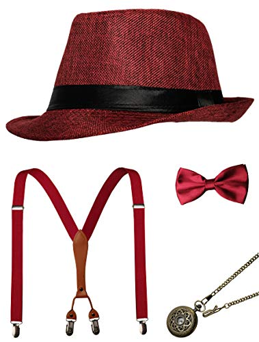 - 1920s Mens Accessories Gatsby Gangster Costume Accessories Set Manhattan Fedora Hat Suspenders Bow Tie Pocket Watch (Z-Red Set)