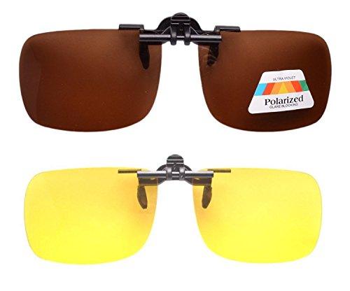 Eyekepper 2 paires sur Lunettes de soleil polarisee Jour-nuit gris jaune marron+jaune