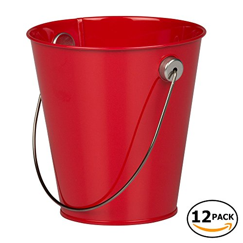 (JAM Paper Colorful Metal Pails - Small - Red - 12 Party Favor Buckets/Pack)