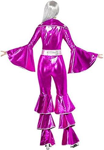 FANCY DRESS COSTUME DELUXE 70/'S DISCO SUIT PURPLE SM
