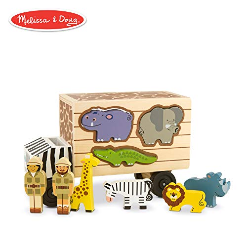 Melissa & Doug Animal Rescue Shape-Sorting Truck (Wooden Toy With 7 Animals and 2 Play Figures)
