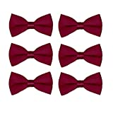 Men's Bow Tie Wholesale 6 Pack Wedding Ties Pre-Tied Formal Tuxedo Bowties (Burgundy)