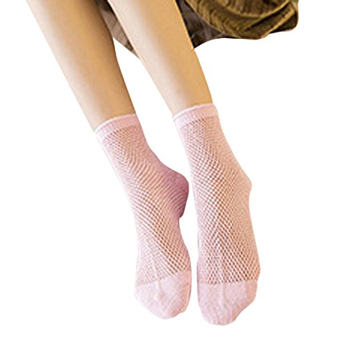 DZT1968 Women Thin Fishnet Ankle High Socks Mesh Short Socks free size (Pink) (Pink Fishnets)