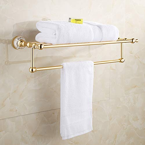 WEN-UD Gold Bathroom Towel Rack Shelf with Bar Wall Mount Aluminum Bathroom Accessories Gold Double Towel ()