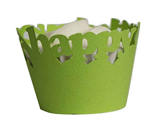 All About Details Happy Birthday Cupcake Wrappers, Set of 12 (Lime Green) ()