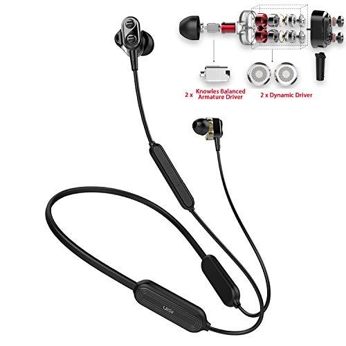 (Bluetooth Earbuds,Wireless Earbuds 15H Battery Sweatproof, Hybrid Quad Drivers Superb HiFi Stereo,Impressive Bass,Noise Cancelling Bluetooth in-Ear Headphones w/Mic,Neckband Wireless Sport Earphones)