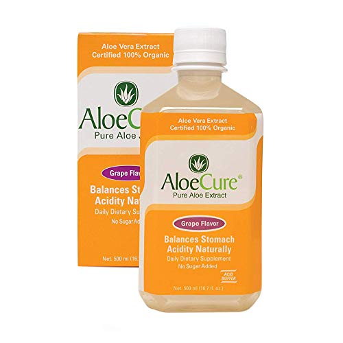 AloeCure Pure Aloe Vera Juice for Bouts of Acid Reflux, Heartburn, and IBS Grape, 16.7 fl oz, 1 Bottle (Aloe Syrup Vera)
