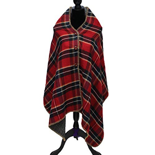 Jelinda Women Ladies Hooded Check Printed Poncho Blanket Shawl Wrap Cape (Red) (Plus Size Poncho)
