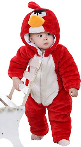 Deluxe Child's Boys Girls Baby Toddler Red Angry Birds Super Plush Velour Hooded Onesie Snowsuit Fancy Dress Costume Outfit 9 Months - 5 Years (9-12 Months (80cms)) -