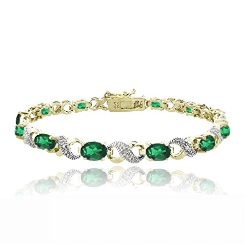 Infinity Emerald Bracelets (Bria Lou Gold Flashed Brass Created Emerald & Diamond Accent Infinity Link Bracelet, 7.5