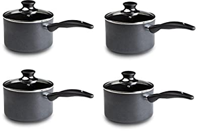 T-fal A85724 Specialty Nonstick Dishwasher Safe Handy Pot Saucepan with Glass Lid Cookware, 3-Quart, Gray, asyKsX 4 Pack (Nonstick)