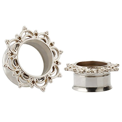 KUBOOZ Titanium Steel Flesh Tunnels Ear Plugs Stretcher Expander Tunnels Ear Gauges Body Piercing Jewelry Silver 9/16
