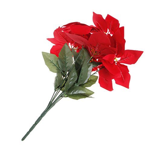 Junlinto Artificial Silk Poinsettias Flowers Centerpiece Bouquet Christmas Home Decor