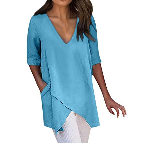 TIANMI Women Casual Solid Irregular V-Neck Short Sleeve Pockets Top Blouse Blue