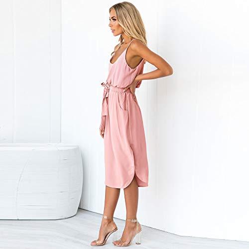 Y Rosado Largos Irregular Tirantes Verano Mujer Sólido Slyar Sencillo Vestido Cortos Vestidos Cómodo 2019 Para Tallas Grandes Color De Fiesta x8HHY1pqO