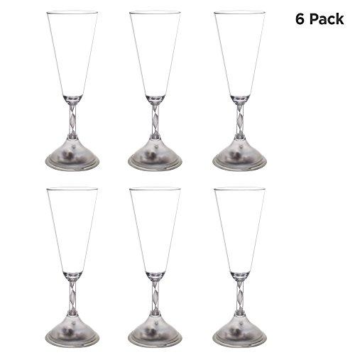 LED Light Up Champagne Glass Flutes 7oz | Set of 6 | 8 Flashing Party Modes]()