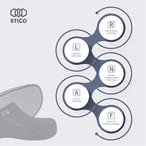 STICO Men's Slip Resistant Chef Clogs, Professional Non-Slip Work Shoes with Air Vents for Restaurant Hospital Nursing Garden [Black/US Men 9] by Stico (Image #5)