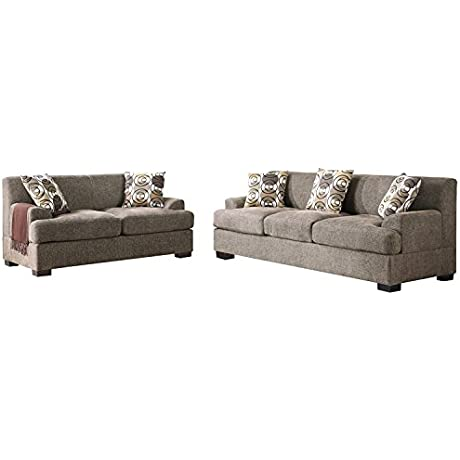 2Pcs Modern Slate Linen Like Fabric Sofa Loveseat Set With Merging Edgy And A Sophisticated Design