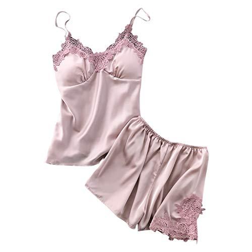 GDJGTA Nightwear Womens Sexy lace Sling Pajamas Solid Color Pajamas Nightdress Underwear Set Pink ()