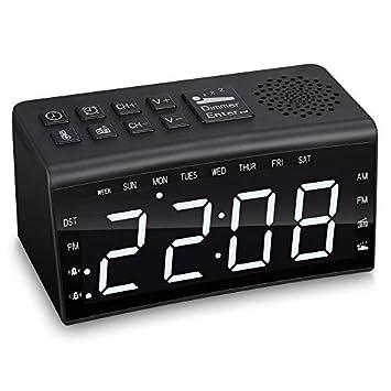 ZEEPIN PR002 Radio Reloj Despertador con 2 Relojes de Alarma y luz Ajustable, Pantalla Grande: Amazon.es: Hogar