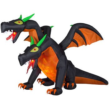Gemmy - Animated Inflatable 2-Headed Halloween Dragon -