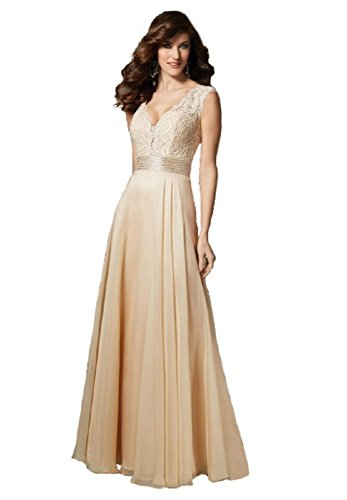 Mori Lee VM by Women's Sleeveless Beaded Lace Chiffon Gown 10 Champagne