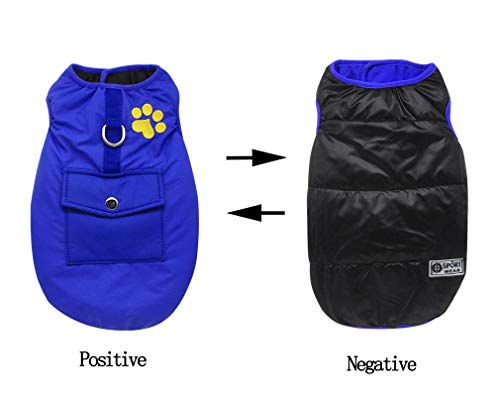 (YAODHAOD Dog Winter Vest,Winter Waterproof Dog Vest Coats Jackets,Warm Reversible Outwear,Winter Vest Dog for Small Medium Large Dogs (S (Small Size, Comparison Size Table), Blue))