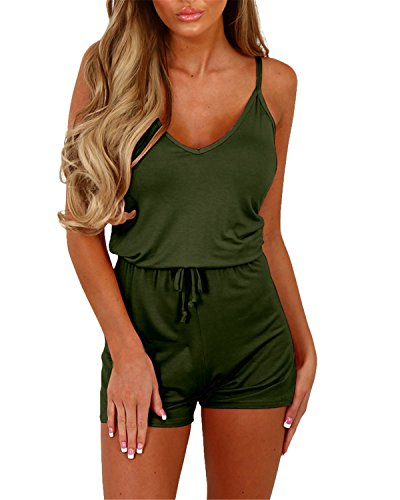 (Auxo Women Short Romper Summer Sexy Halter Cute V Neck Playsuit One Piece Jumpsuit Jumper 02-Army Green US 8/Asian L)
