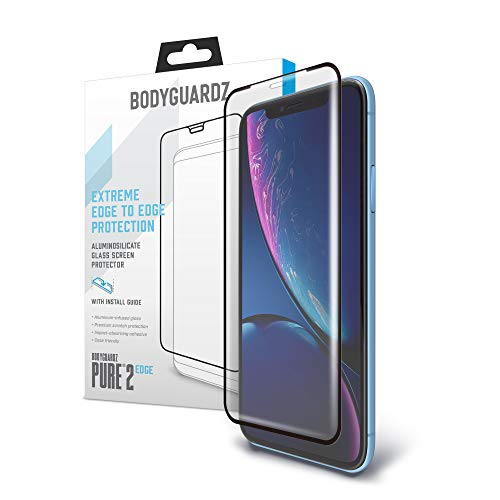 Alumitech Case - BodyGuardz - Pure 2 Edge Glass Screen Protector for Apple iPhone Xr, Ultra-Thin Edge-to-Edge Tempered Glass Screen Protection for Apple iPhone Xr - CASE Friendly