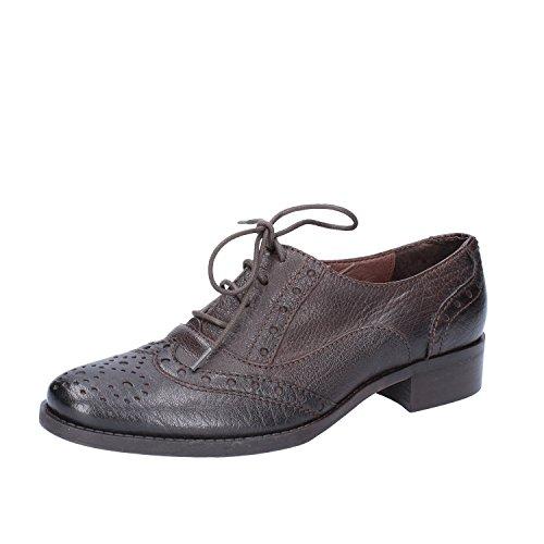 de Cordones Mujer Marr�n de Marrón Donna Cuero PIU para Oscuro Zapatos q4ZxIZPwAS