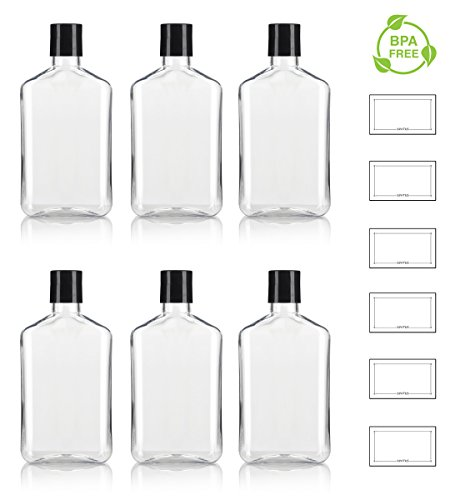 8 oz / 250 ml Clear PET (BPA Free) Plastic Oblong Flask Style Refillable Bottle with Black Disc Cap Tops (6 pack) + Labels
