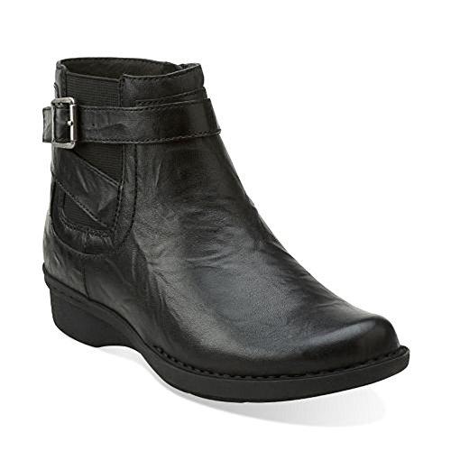 Clarks para mujer del silbido del arbusto de arranque Black Leather