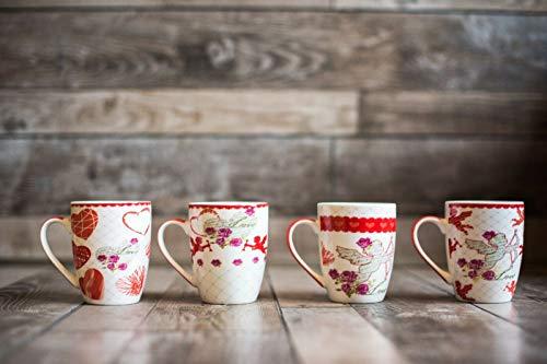 New Gift Box Set of 4, Bone China Mugs,I love you,Valentine's Day, Heart, Cupid- set of 4, 12 Oz, Gift Box