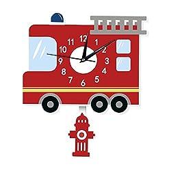 Vktech Kids Wall Clock Cartoon American Fire Engine Shape Wall Decals Decorative Non Ticking Quiet Wall Clock for Kids/Girls/Nursery Room
