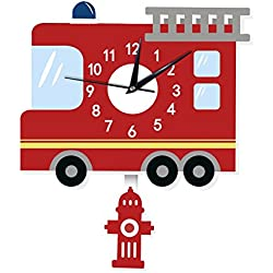 Vktech Kids Wall Clock Cartoon American Fire Engine Shape Wall Decals Decorative Non Ticking Quiet Wall Clock for Kids/Girls/Nursery Room