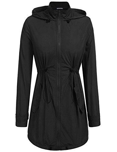 Mofavor Women's Waterproof Lightweight Rain Jacket Anorak With Detachable Hood Black (Lightweight Lined Windbreaker)