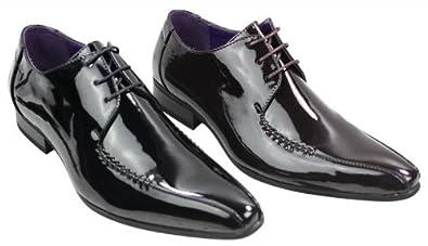 acheter pas cher 12af2 b0c0d Amazon.com | Elong Mens Black Brown Patent Shiny Leather ...