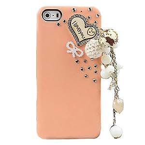HP-Diseño simple 3D Corazón de madera de la funda detrás para el iPhone 5/5S (colores surtidos) , Rosado