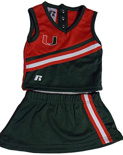 [Baby University of Miami 3-Piece Cheerleader Set Green, 24 months] (Cheerleader Outfit For Girls)