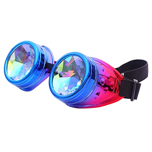 LUCA Festivals Kaleidoscope Party Glasses for Raves EDM Goggles Diffraction Crystal Lenses(Purple 2,One Size)