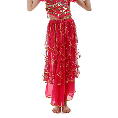 JEANSWSB Belly Dance Elegant Skirts with Silver Dots 120D Chiffon Skirts Adult (Pink Indian Sari Adult Costume)